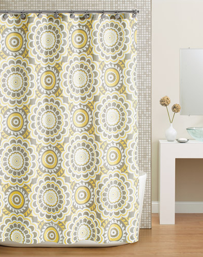 Global Floral Fabric Shower Curtain