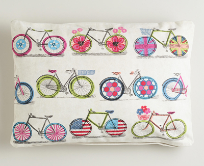 Bicycle Print Recycled Tarp Lumbar Pillow