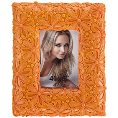 Orange Daisy Floral Picture Frame