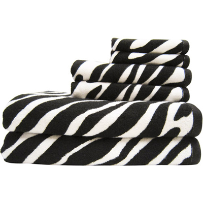6 Piece Black White Cotton Bath Towel Set