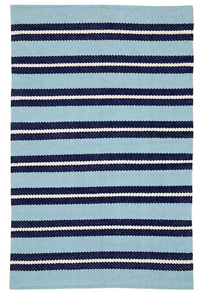 Blue Nautical Striped Rug
