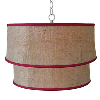 Burlap Double Drum Pendant with Red Welt