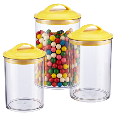 Color Pop Acrylic Canisters with Yellow Lids