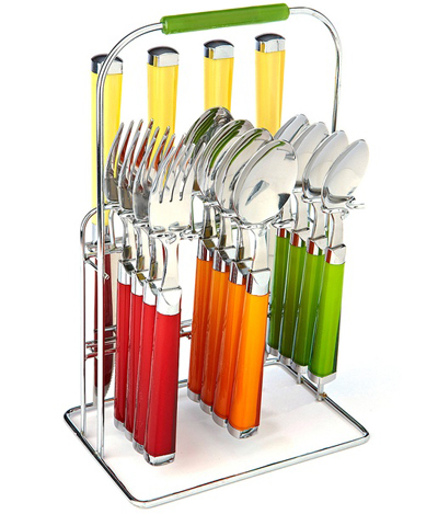 Feista Temptation 16-Piece Flatware Set with Caddy | Decor by Color