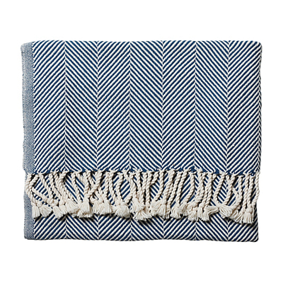 Indigo Herringbone Throw