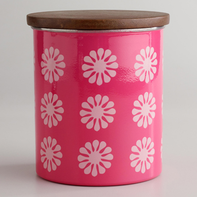 Pink Floral Canister with Wood Lid