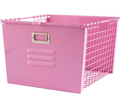 Pink Metal Locker Basket