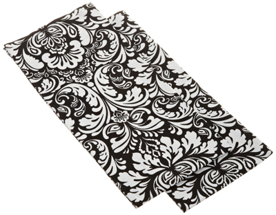 Printed Black Damask Dishtowels