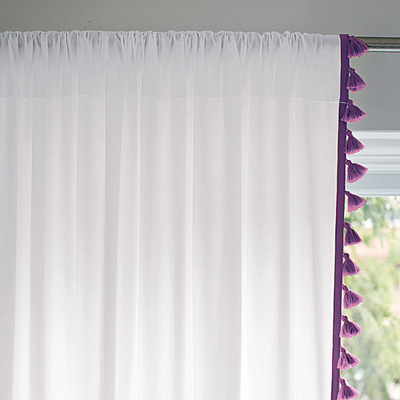 Purple French Tassel Window Panel