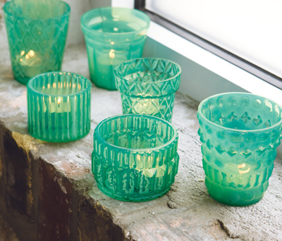 Verre Turquoise Tealights - Set of 6