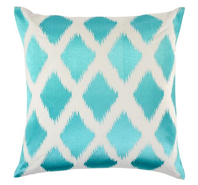 Aquamarine Diamond Ikat Pillow