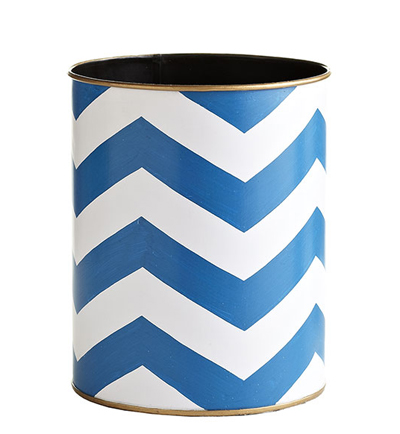 Blue Chevron Wastebasket