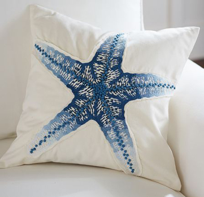 Blue Starfish Embroidered Pillow Cover