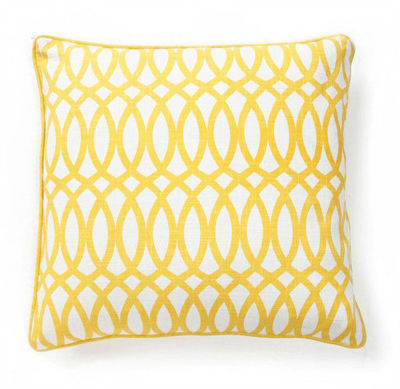 "Geo 22"" Pillow in Yellow Cotton"