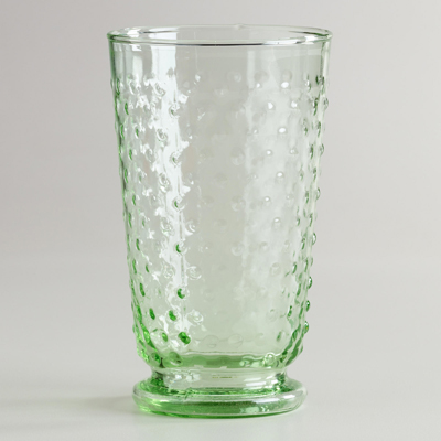 Green Hobnail Highball Fashioned Glasses - Set of 4
