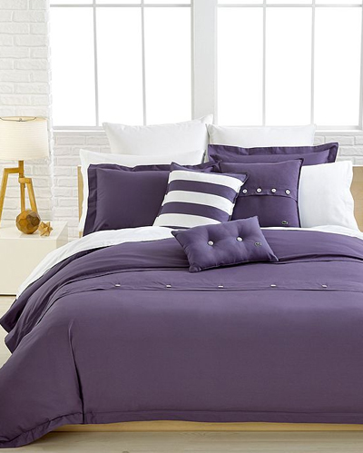 Lacoste Solid Purple Brushed Twill Bedding