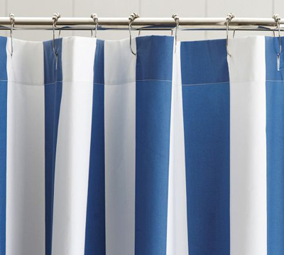Lapis Blue Classic Stripe Shower Curtain