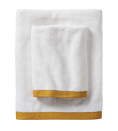 Mustard Border Frame Bath Towels