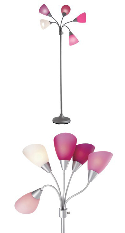 Pink 5 head floor lamp decor by color for Pink floor reading lamp