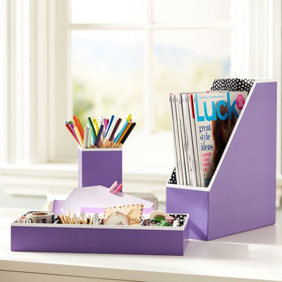 Purple Preppy Paper Desk Accessories