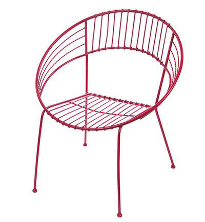 Round Metal Chair in Red