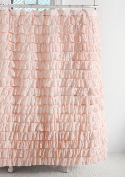 pink waterfall ruffle shower curtain