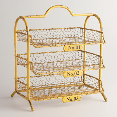 Yellow Austin 3-Tier Wire Tray