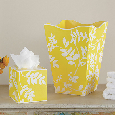 Yellow Fern Wastebasket and Tissue Set