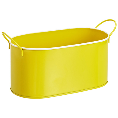 Yellow Oval Enameled Metal Bin