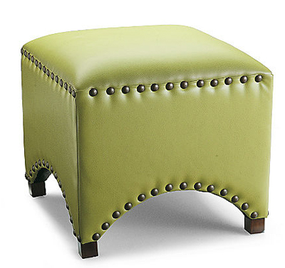 Arched Nailhead Ottoman in Textured Citrine