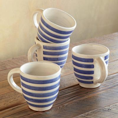 Blue Bouquet Striped Mugs