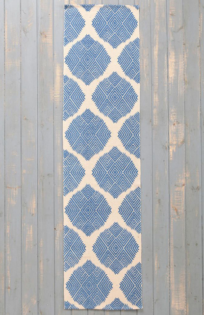 Blue Diamond Tile Rug