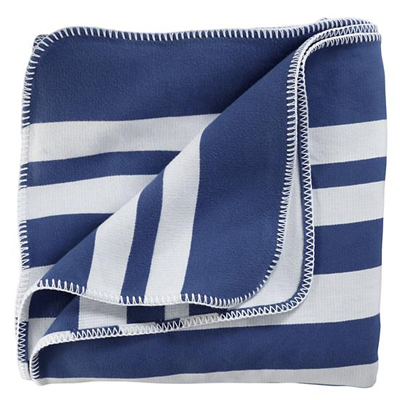 Blue and White Striped Blanket
