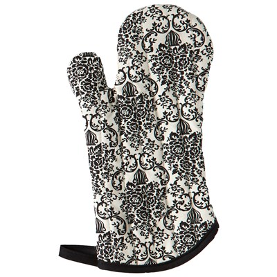 Cream & Black Bouquet Damask Oven Mitt