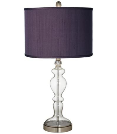 Eggplant Textured Silk Apothecary Clear Glass Table Lamp