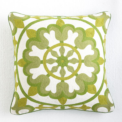 Floral Crewelwork Pillow Cover