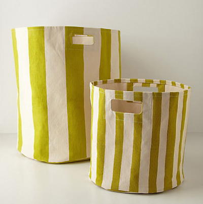 Green Candy-Striped Basket