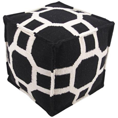 Octagons and Squares Black Pouf Ottoman