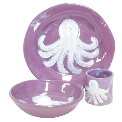 Octopus Purple Personalized Ceramic Dish Set