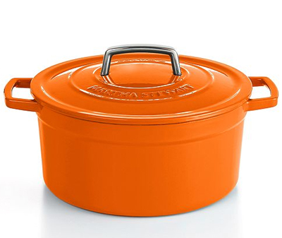 Orange Enameled Cast Iron Round Casserole