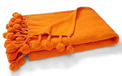 Orange Pom Pom Throw