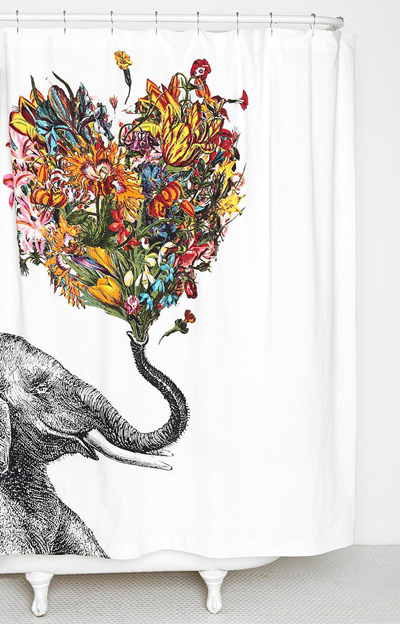 Happy Elephant Shower Curtain Decor By Color