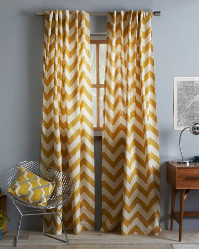 Yellow Cotton Canvas Zigzag Curtain