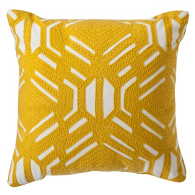 Yellow Patterned Decorative Pillow