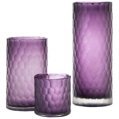 Faceted Purple Glass Vase Collection