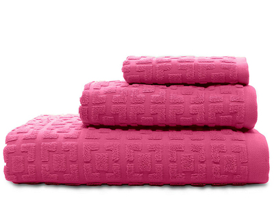 Hot Pink Palm Spring Block Bath Towels