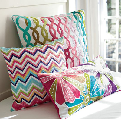 Palm Beach Embroidered Crewel Pillow Covers