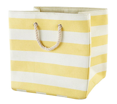 Yellow Striped Cube Floor Bin