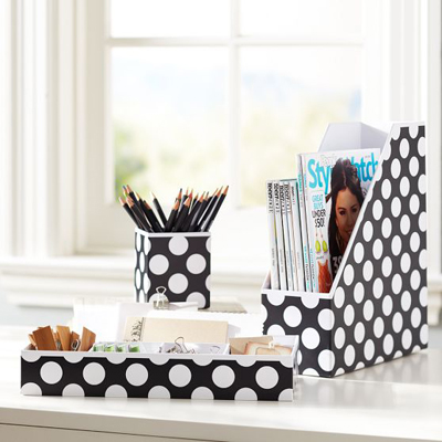 Black Dottie Preppy Paper Desk Accessories