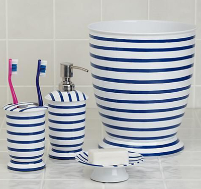 Nautical Blue And White Stripe Bath Accessories Collection